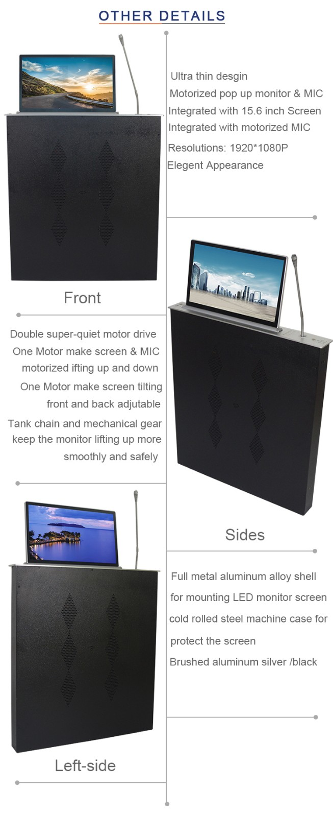 LCD monitor lift, monitor lift, motorized monitor lift, LCD